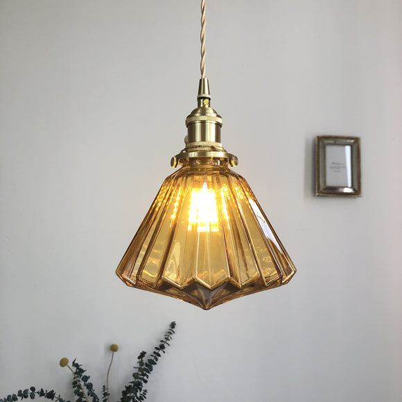 Japanese Style Retro Brass Glass Chandelier Pendant Lighting
