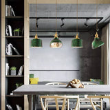Japanese Style Simple Literary Green Brass Glass Chandelier Creative Pendant Lighting