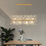 LED Chandeliers Firework Stainless Steel Crystal Island Pendant Lighting With 12-Lights G9 Bulb - heparts