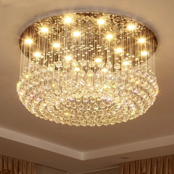 Luxurious Crystal D80cm Chandelier Downlight Electroplated Metal Crystal GU10 LED