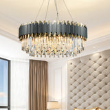 Luxury Crystal Chandelier Modern Suspension Pendant Light Elegant Ceiling Lamp Lighting Fixture for Living Dining Room E12-E14 ITEM1909