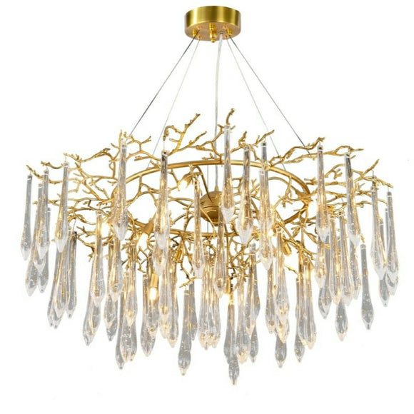 Luxury Rain Drops Twisted Crystal Brass Chandelier Contemporary Modern G9
