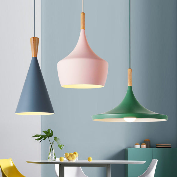 Macaroon Colorful Mini Aluminum Wood Pendant Light Ceiling Lamp Creative Restaurant Lampshade Modern Hanging Lighting E26/E27 - heparts