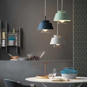 Macaroon Iron Art Glass Pendant Light Colorful Lights Chandelier Down light E26/E27 - heparts