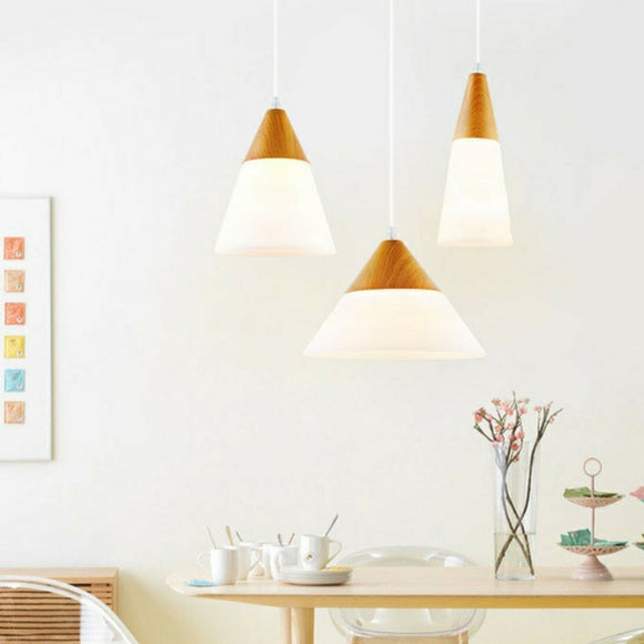 Mini Cone Modern Wood Drum Pendant Light Ambient Light E26/E27