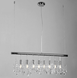 Modern Pendant Lamp Crystal Hanging Light Chrome for Dinning Living Room Suspension Lighting Length 100cm - heparts