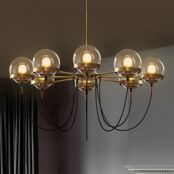 Modern Retro-American Cognac glass ball bronze ring Pendant Light Designer's Lamp Restaurant - heparts