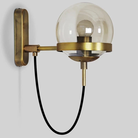 Modern Retro-American Cognac glass ball bronze ring wall lamp Designer's Lamp Restaurant - heparts