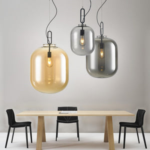 Modern Wax gourd Glass Pendant Light Creative Restaurant Lampshade Hanging Lighting E26/E27 - heparts