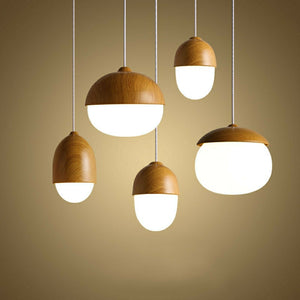 Net Northern Europe Style Wood Grain Glass Pendant Light Fixture E26/E27 Base