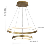 New Circle Modern Chandelier Gold Painted Aluminum Rings Lamp Inner & outer Light LED Integrated