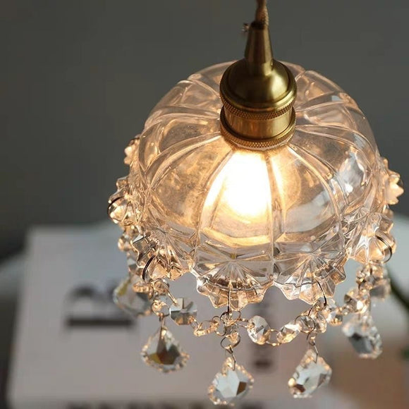 Nordic Crystal Retro Brass Glass Mini Chandelier Pendant Lighting