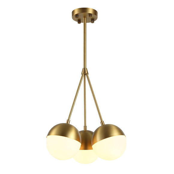 Pure Brass 1&3 Lights Modern Pendant Light Chandelier Lighting Lamp White Glass Loft