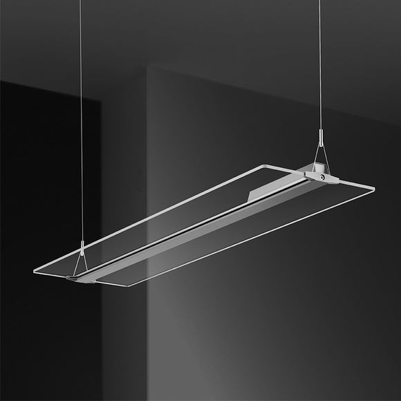 Rectangle Modern Led Pendant Light Chandelier Modern Creative Frameless Light Guide Plate Transparent Crystal for Hotel Office Live room