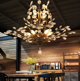 Retro Chandelier 8 Lights E12 E14 Transparent Crystal Black or Gold Chandeliers for Dinning Living Room - heparts