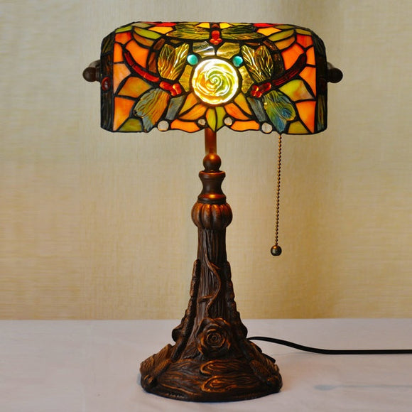 Rose&Dragonfly Tiffany Table Lamps Vintage Stained Glass -Home Decor D10H14 Inch