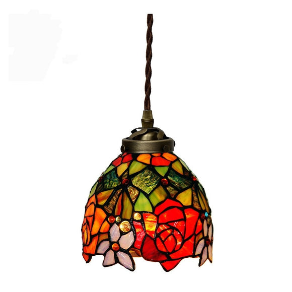 Rose Vintage Tiffany Pendant Lighting Ambient Light Lamp Shade-Fixture Pendant Lighting-Home Decor - heparts
