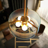 Round Gold Metal Water Pattern Glass American Luxury Pendant Light Creative