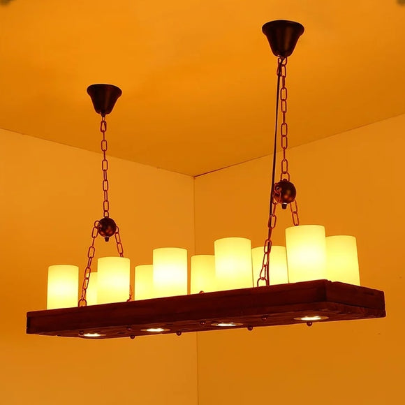 Rustic Wood Pendant Light Island Chandelier 10Candle+4 Down Lights E26/E27 - heparts