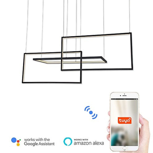 Wi-Fi Smart Modern Led Pendant Lights Island / Geometrical / Novelty Chandelier Ambient Light Painted Finishes Aluminum Acrylic Adjustable, Dimmable - heparts