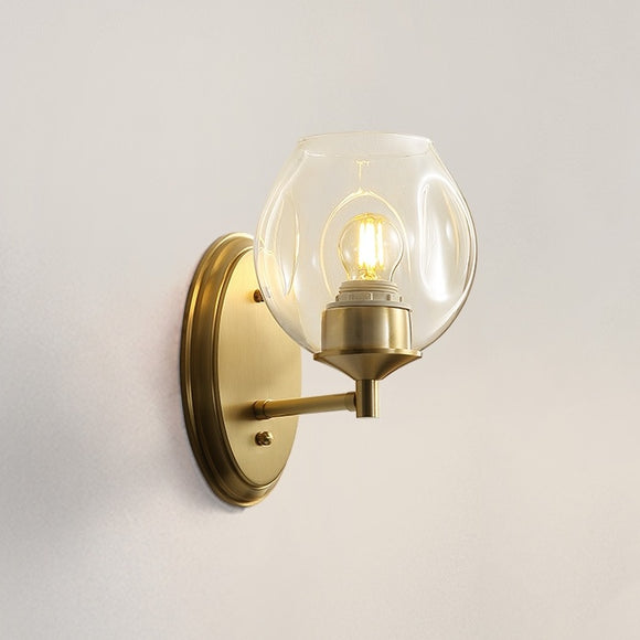 Single Glass ball Solid Brass Sconce Wall Lights Bathroom Lights Vanity Lighting - heparts