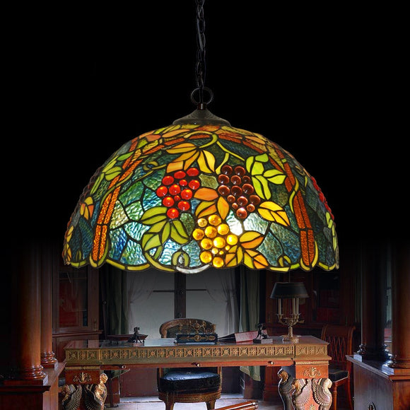 Tiffany Pendant Light Ambient Light Grape Floral Patterned Shade D17inch E26/E27 2*Blubs