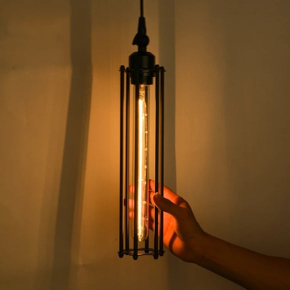 Vertical-Vintage Metal Cage Hanging Light - Retro Iron Pendant Lamp - heparts