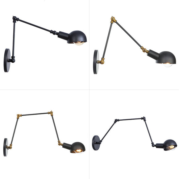 Wray Industrial Adjustable Swing Arm Wall Lamp Rich Metal Light