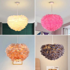 Colorful Lights Handmade Feather Pendant Light Chandelier Light E26/E27 LED - heparts