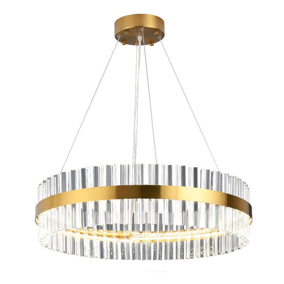 LED Strip Post-modern Golden Round Indoor LED Pendant Light With High Quality Crystal In Living Room Dining Room