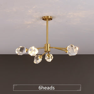 Luxury K9 Crystal Led Chandeliers Light Fixtures Modern Copper Hanging Lamp Pendant Lustre for Bedroom Led Suspension Luminaire