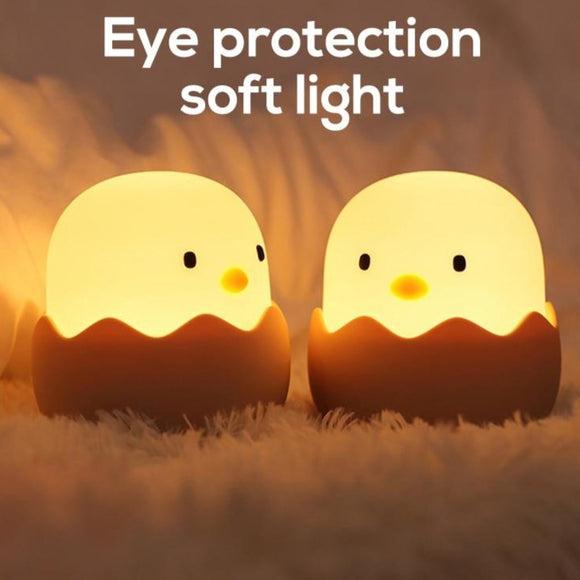 Led Children Night Light For Kids Soft Silicone USB Rechargeable Bedroom Decor Gift Animal Chick Touch Night Lamp