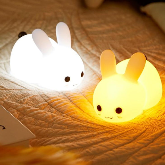 Touch Rabbit Night Lights Silicone Dimmable USB Rechargeable Lamps for Children Baby Gifts Cartoon Cute Animal Bunny Night Lamp