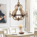Vintage 6 Lights Wood Chandelier Lighting Retro Iron Candle Hanging Lamp for Dining Living Room Coffee Bar E12/E14
