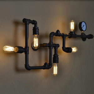 Loft Vintage Water Pipe Wall Lamp 5 Lights Bar Restaurant Iron Industrial Style E26 E27 Edison Bulbs Retro Wall Sconce Lamp - heparts
