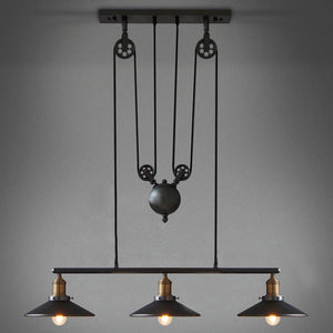 LED Retro Pendant Lighting 3 Lights Edison Bulbs Included Up and Down Black Painting Mirror Glass Pendant Lamp for Dinning Room - heparts