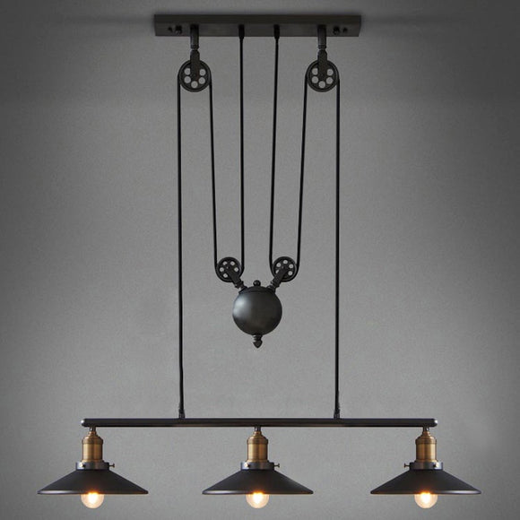 LED Retro Pendant Lighting 3 Lights Edison Bulbs Included Up and Down Black Painting Mirror Glass Pendant Lamp for Dinning Room