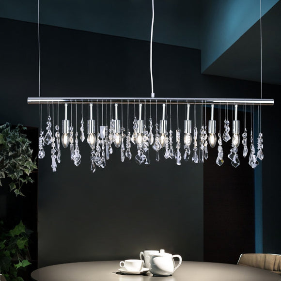 Modern Pendant Lamp Crystal Hanging Light Chrome for Dinning Living Room Suspension Lighting Length 100cm
