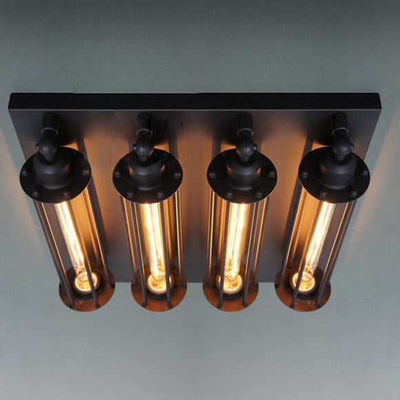 Retro Vintage Ceiling Light 4 Lights Edison Bulbs Metal Black Painting Ceiling Light for Living room Loft Lamp Light Industrial - heparts