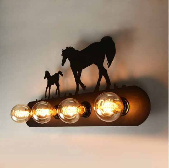 Country Retro Wall Lamps 4 Lights Edison Bulbs Wall light Wall Sconce Black Painting Bed Living Room Lighting - heparts