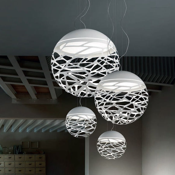 Modern Led Pendant Lamp White Black Painting Metal Pendant Light for Stair Dinning Living Room Hanging Lighting - heparts
