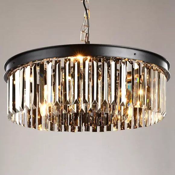 Classic Crystal Pendant Light Black Painting Clear Crystal Pendant Lamp for Living Bed Dinning Room Retro Lamp