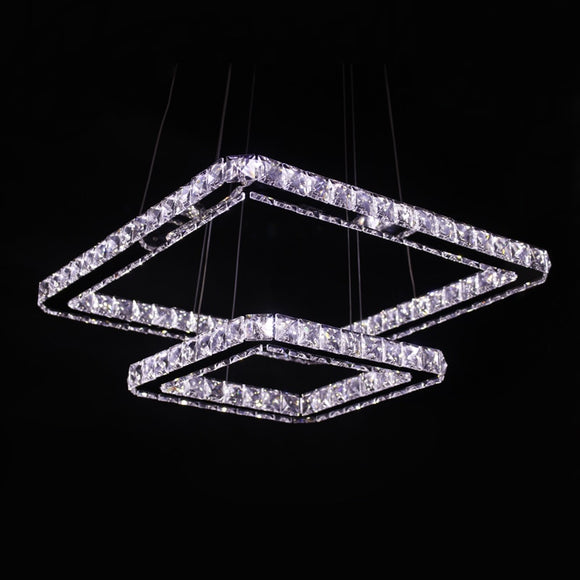 Modern Led Pendant Lamp Stainless Steel 2 Square Rings Chrome Finish Transparent K9 Crystal Led Pendant Lights for Dinning Room