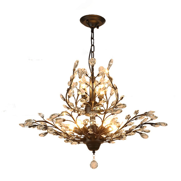 Retro Chandelier 8 Lights E12 E14 Transparent Crystal Black or Gold Chandeliers for Dinning Living Room