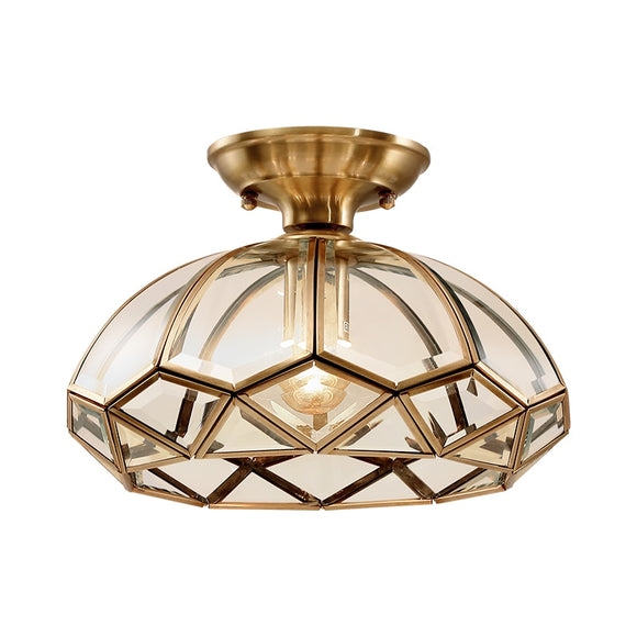 Copper Ceiling Lights Simple Bedroom Lamp Balcony Kitchen Glass Shade Ceiling Lamp Hallway Entrance Gold Ceiling Lamp
