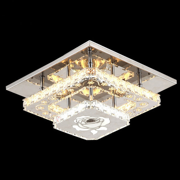 Modern LED Crystal Flush Mount Led Ceiling Light 90-265V L30W30 CM Crystal Ceiling Lamp for Hallway - heparts