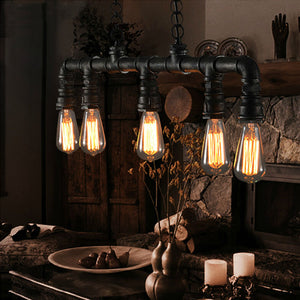 Hot Sell Vintage Water Pipe Pendant Lights Lamps 5 Lights Edison Bulbs Black Painting 110V 220V Dinning Living Study Room Lights - heparts