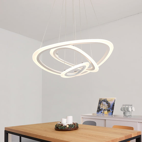 Modern Led Pendant Light Hanging Lamp Lighting Ring Aluminium Acrylic White Painting for Living Bed Room - heparts