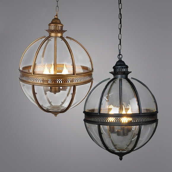 American Vintage Globe Chandeliers 3 Lights E12 E14 Transparent Glass Metal Painting Loft Chandeliers for Living Dinning Room