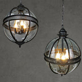 American Vintage Globe Chandeliers 3 Lights E12 E14 Transparent Glass Metal Painting Loft Chandeliers for Living Dinning Room - heparts